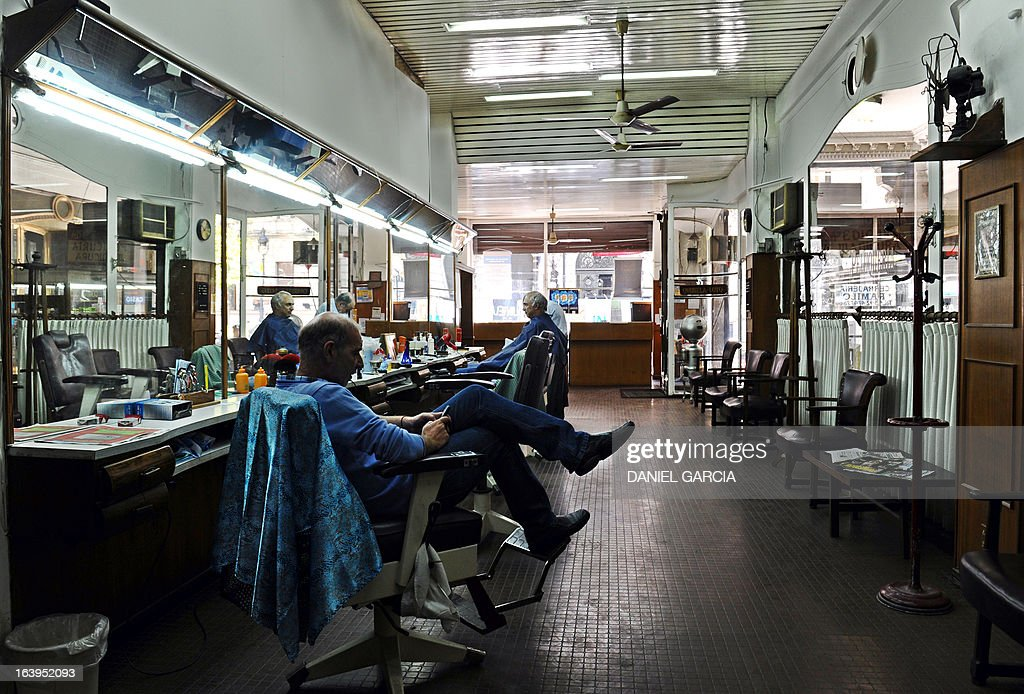View of the hairdressing and pedicure salon Romano, founded in 1969, in downtown Buenos Aires, pictured on March 18, 2013. The salon is located about one block from the Buenos Aires Cathedral, and is where the new Pope Francis used to get his hair cut and feet taken care of when he was bishop and archbishop of the Argentine capital. AFP PHOTO/DANIEL GARCIA