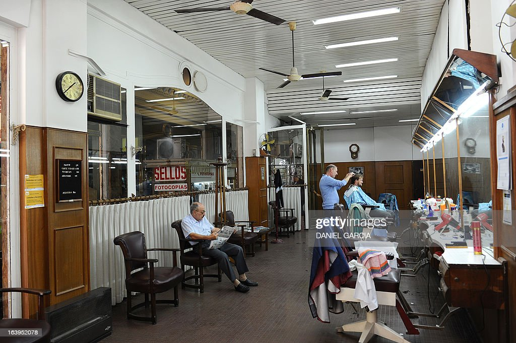 View of the hairdressing and pedicure salon Romano, founded on 1969, in downtown Buenos Aires, pictured on March 18, 2013. The salon is located about one block from the Buenos Aires Cathedral, and is where the new Pope Francis used to get his hair cut and feet taken care of when he was bishop and archbishop of the Argentine capital.