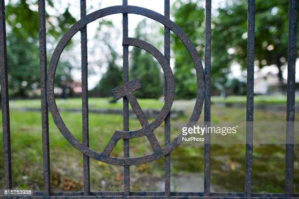 A view of the hammer and sickle the Communist symbol at the entrance to the Soviet Army cemetery in Rzeszow There are 2224 Russian soldiers buried...