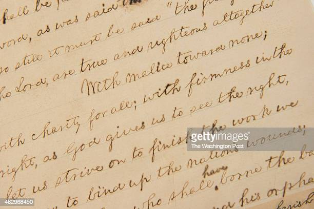 View of the handwritten manuscript of President Abraham Lincoln's second inaugural address at the Library of Congress in Washington DC on February 5...