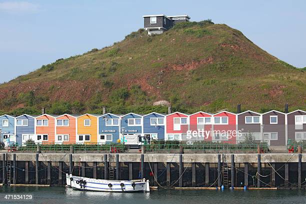View of the harbor area in Helgoland