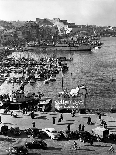 View of the harbour 1951 in Marseille France