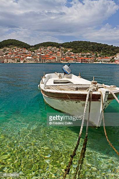 View of the harbour in Pucisca on Brac, Croatia