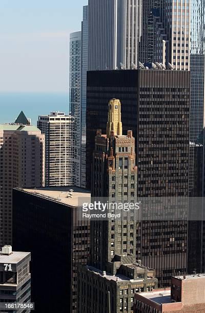 A view of the Hard Rock Hotel looking East as photographed from the roof of Marina City Towers in Chicago Illinois on APRIL 04 2013