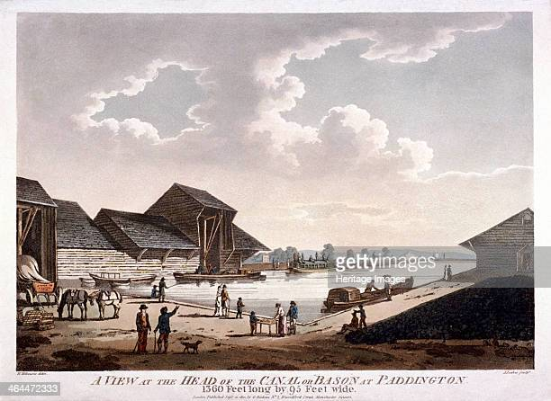 View of the head of the canal or basin at Paddington London 1801 this image shows the Paddington or Grand Junction Canal as it is also known as it...