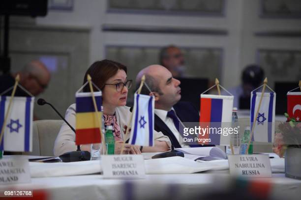 View of the head of the Central Bank of Russia Elvira Nabiullina and Deputy Governor of the Central Bank of the Republic of Turkey Murat Uysal during...