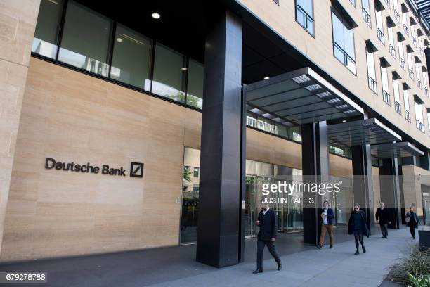 A view of the headquarters of German bank Deutsche Bank in London on May 5 2017 / AFP PHOTO / Justin TALLIS