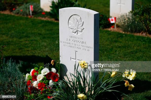 A view of the headstone of JR Gregoire a relative of Sophie Gregoire the wife of Canadian Prime Minister Justin Trudeau is pictured during the...