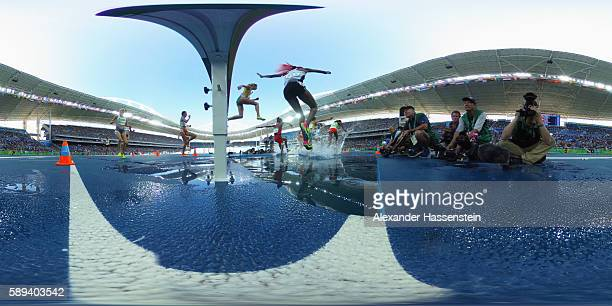 A view of the heats of the Women's Steeplechase on Day 8 of the Rio 2016 Olympic Games at the Olympic Stadium on August 13 2016 in Rio de Janeiro...