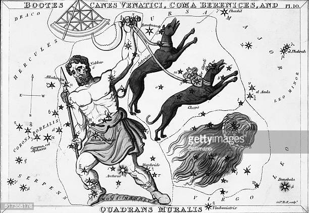 A View of the Heavens The Constellations Bootes Canes Venatici Coma Berenices and Quadrans Muralis Undated engraving