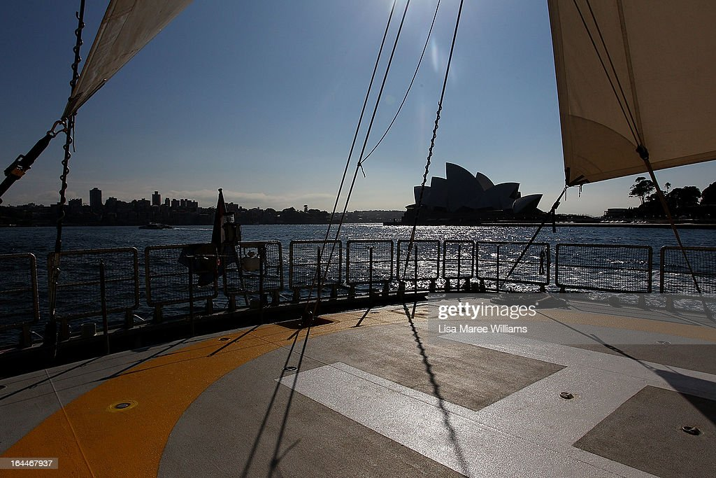 A view of the helicopter landing pad aboard the Greenpeace Rainbow Warrior whilst docked at the Overseas Passenger Terminal in Circular Quay on March 24, 2013 in Sydney, Australia. The vessel is in Australia to protest new coal mines set to open near the Great Barrier Reef, and is opening for public viewing at ports across the country. The original Rainbow Warrior was bombed and sunk in Auckland Harbour in 1985 by two French intelligent agents, killing a Dutch photographer on board.
