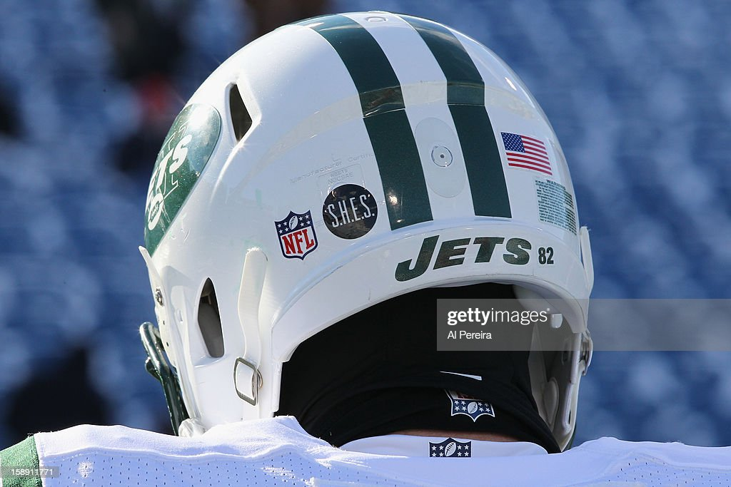 View of the helmet decal tribute to Sandy Hook Elementary School on a helmet of the New York Jets before the game against the New York Jets and the Buffalo Bills when the Buffalo Bills host the New York Jets at Ralph Wilson Stadium on December 30, 2012 in Orchard Park, New York.