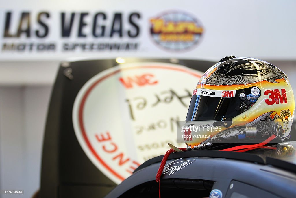 A view of the helmet for Greg Biffle (not pictured), driver of the #16 Red Cross Ford, in the garage during a testing session at Las Vegas Motor Speedway on March 6, 2014 in Las Vegas, Nevada.