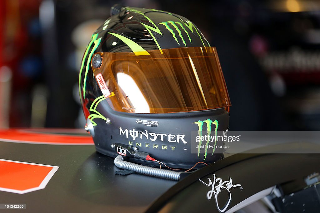 A view of the helmet for Kurt Busch, driver of the #78 Furniture Row/Serta Chevrolet, during practice for the NASCAR Sprint Cup Series Auto Club 400 at Auto Club Speedway on March 22, 2013 in Fontana, California.