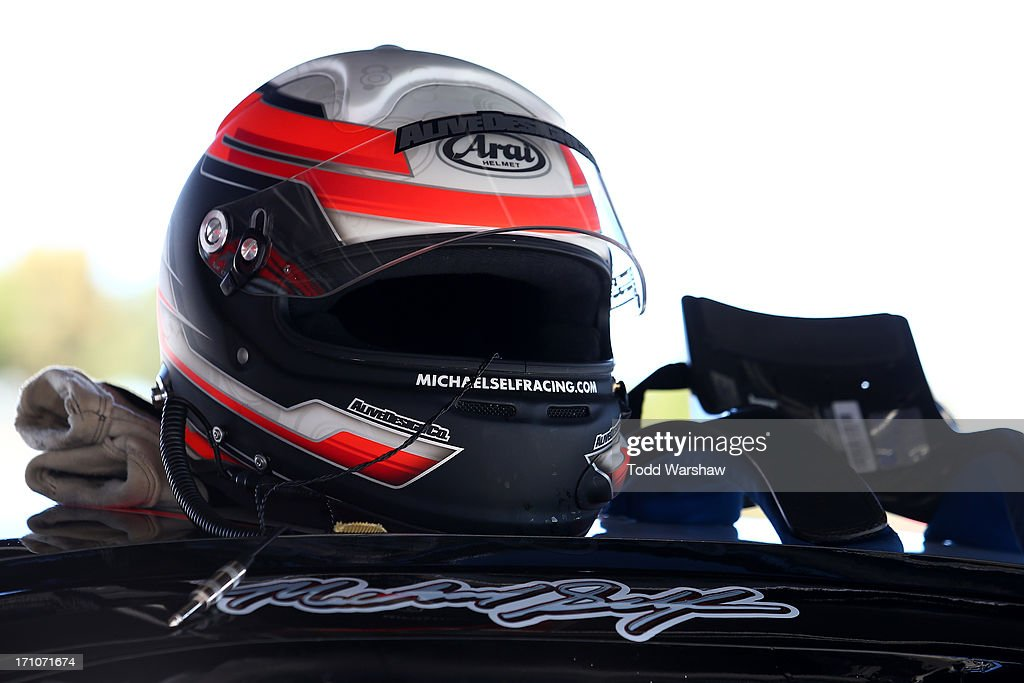 A view of the helmet for Michael Self (not pictured), driver of the #21 Golden Gate Meat/iON/Bay Bio Chevrolet, during practice for the NASCAR K&N Pro Series West Carneros 200 at Sonoma Raceway on June 21, 2013 in Sonoma, California.