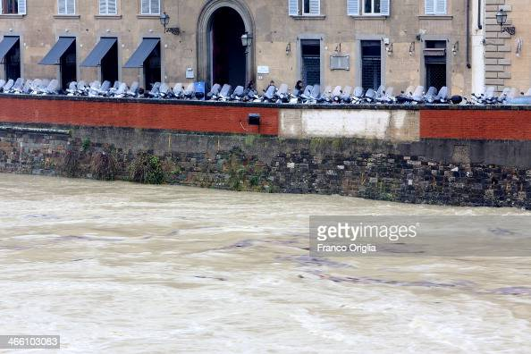 A view of the high water levels on the Arno River taken from Santa Trinita bridge on January 31 2014 on Florence Italy Many areas of central and...