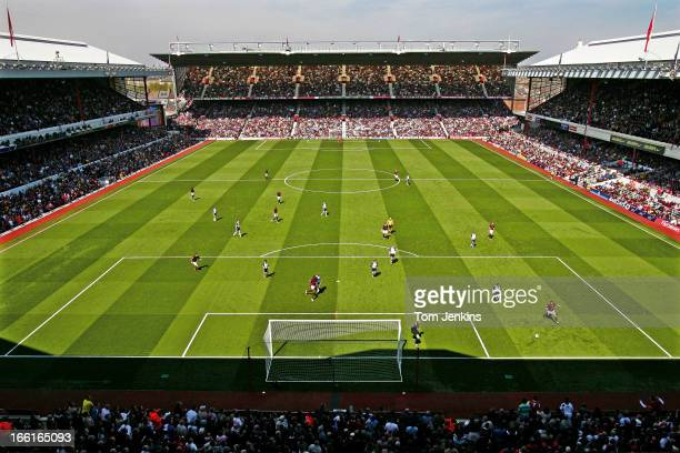 A view of the Highbury football stadium as home side Arsenal play Tottenham Hotspur in a Premier League match the final North London derby to be...