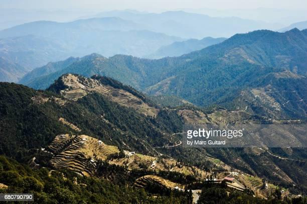 View of the Himalayan foothills from Surkanda Devi Temple, Uttarakhand, India