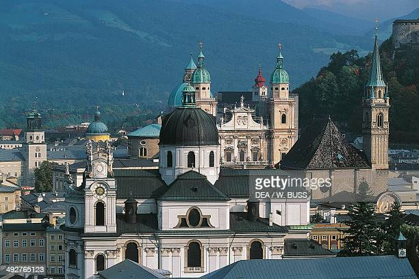 View of the historic centre of Salzburg from Monchsberg Austria