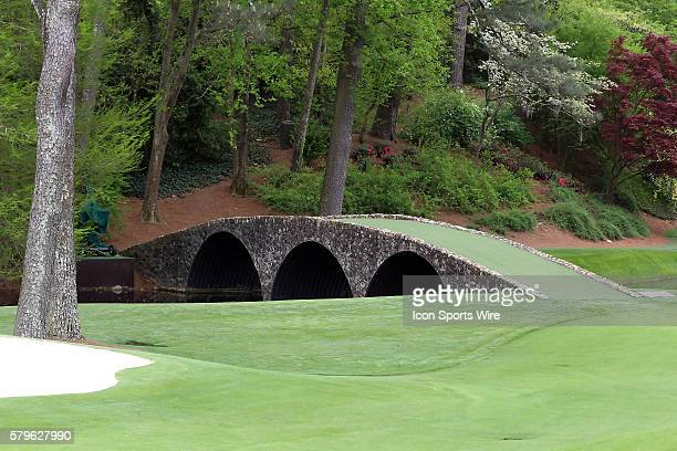 A view of the Hogan Bridge during the practice round for the 2015 Masters Tournament at the Augusta National Golf Club in Augusta Georgia