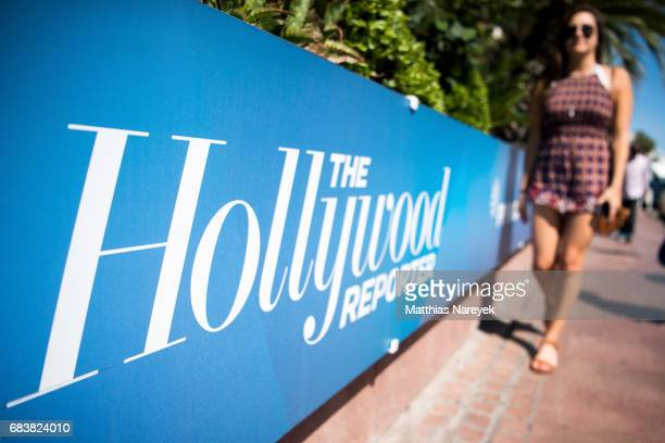 A view of The Hollywood Reporter signage during the 70th annual Cannes Film Festival at on May 16 2017 in Cannes France