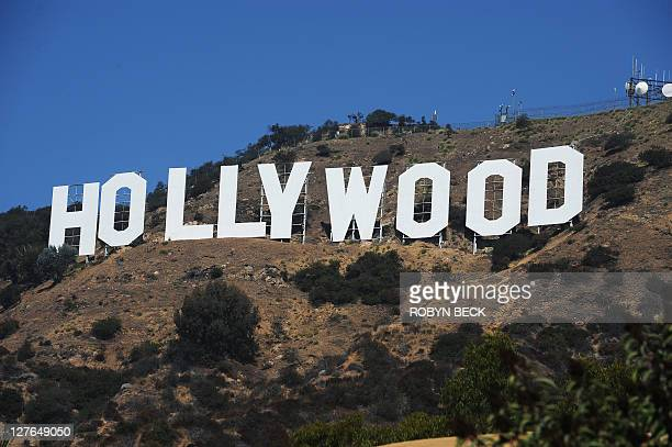 A view of the Hollywood sign from a street in a residential Hollywood Hills section of Hollywood California 21 September 2011 It is one of the...