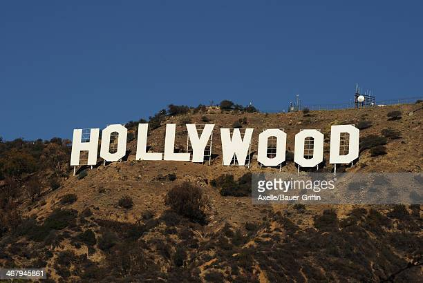 A view of the Hollywood Sign on Mount Lee on February 03 2014 in Los Angeles California