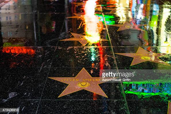 A view of the Hollywood Walk of Fame in the rain at Hollywood Highland on May 14 2015 in Los Angeles California