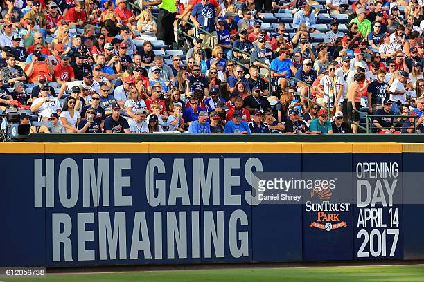 A view of the home game countdown on the outfield wall in the fifth inning between the Atlanta Braves and the Detroit Tigers at Turner Field on...