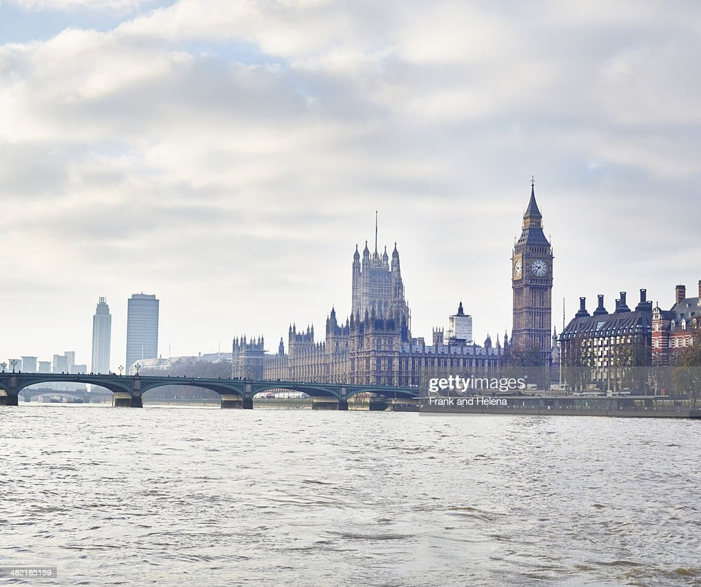 View of the Houses of Parliament and Westminster Bridge, London, UK : Stock Photo