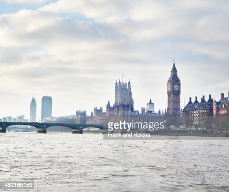 View of the Houses of Parliament and Westminster Bridge, London, UK