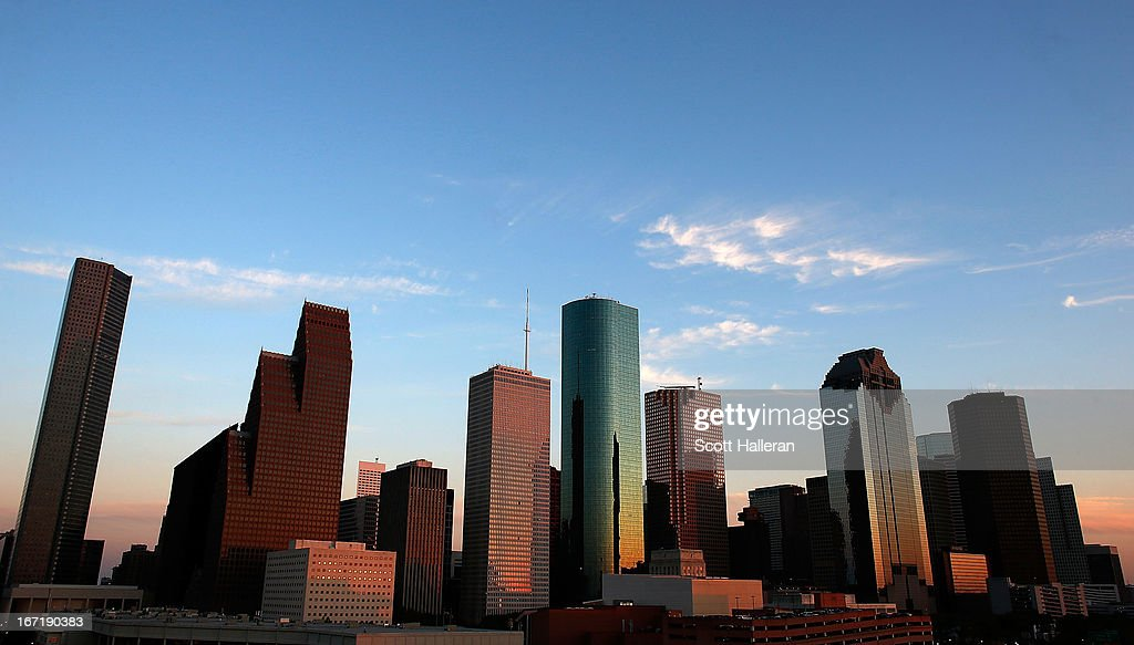 A view of the Houston skyline at dusk on March 26 2013 in Houston Texas
