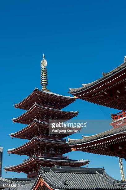 View of the Hozomon Gate and pagoda at the Sensoji temple in Asakusa Tokyo Japan