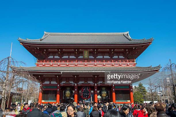 View of the Hozomon Gate at the Sensoji temple in Asakusa Tokyo Japan