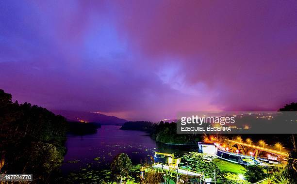 View of the hydroelectric dam in Cachi Cartago 40 km west San Jose on October 19 2015 Costa Rica expects to conclude in 2015 an energy matrix made in...