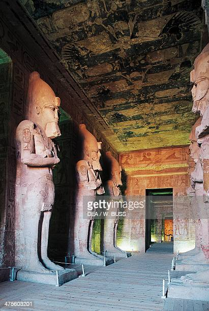 View of the Hypostyle Hall flanked by colossal statues Great Temple of Rameses II Abu Simbel Egypt Egyptian civilisation New Kingdom Dynasty XIX