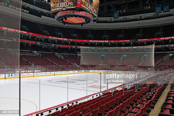 A view of the ice surface and arena of the Philadelphia Flyers prior to a NHL game against the Boston Bruins on January 10 2015 at the Wells Fargo...