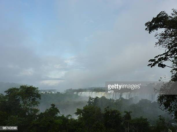 View of the Iguacu Falls taken on the Argentinian side of the Iguazu National Park on April 27 2010 The waterfall system consists of 275 falls along...