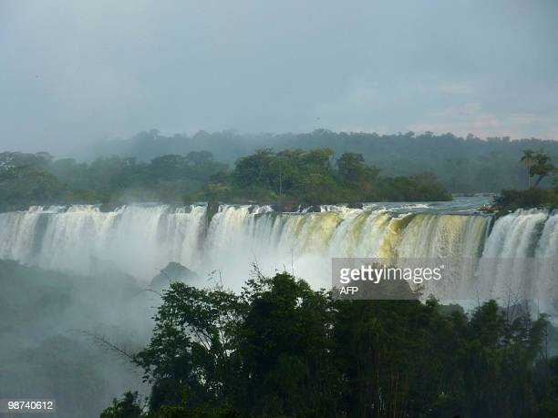 View of the Iguacu Falls taken on the Argentinian side on April 27 2010 The waterfall system consists of 275 falls along 27 kilometers of the Iguazu...