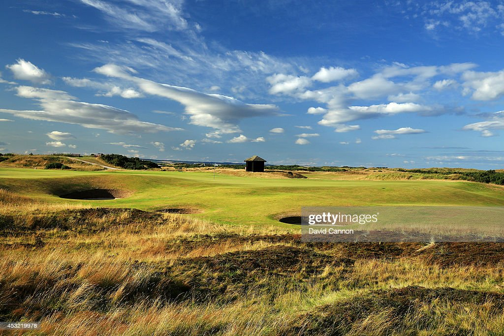 A view of the immediate approach to the green on the 568 yards par 5, 5th hole 'Hole O'Cross Out' on the Old Course at St Andrews venue for The Open Championship in 2015, on July 29, 2014 in St Andrews, Scotland.