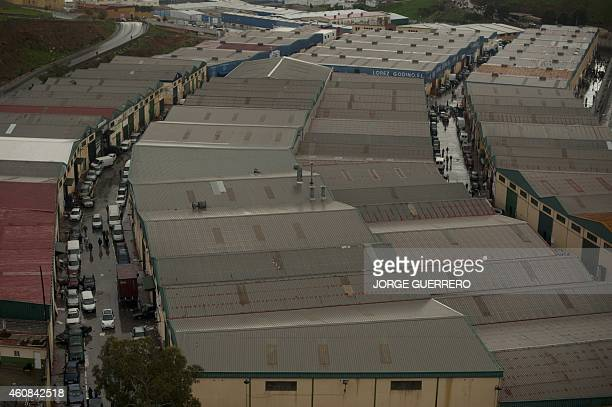 BAZINET View of the industrial estate El Tarajal on the boarder separating Morocco and Spain's North African enclave of Ceuta in Ceuta on December 3...