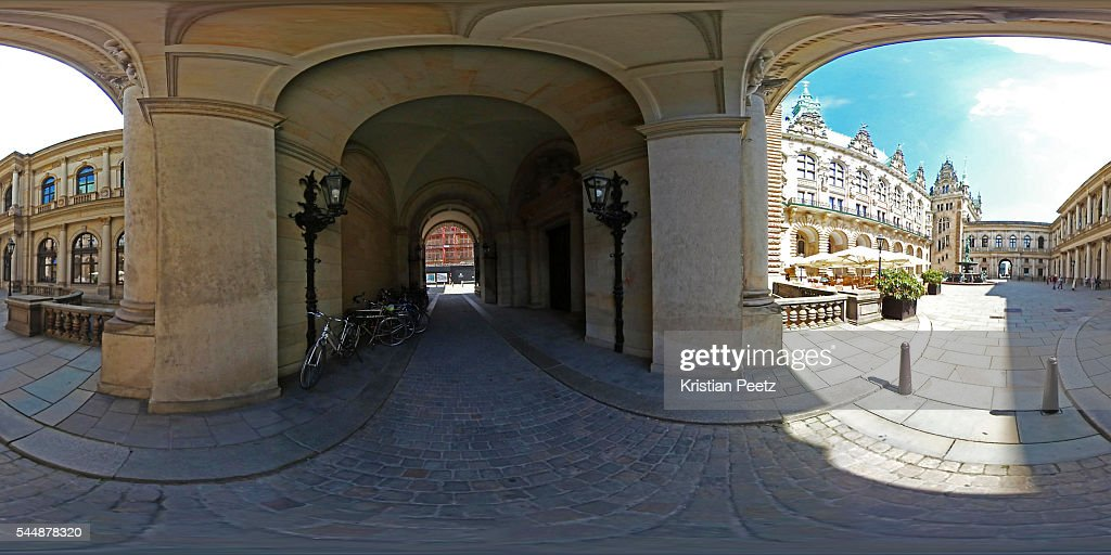 360° View of the inner courtyard of the Town Hall in Hamburg, Germany.