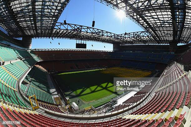 A view of the inside of Stadio Giuseppe Meazza venue for the UEFA Champions League Final 2016 on February 10 2016 in Milan Italy