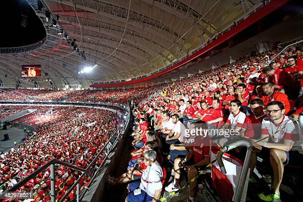 View of the inside of the BeiraRio Stadium during its inauguration in Porto Alegre Rio Grande do Sul Brazil on April 5 2014 The Beira Rio Stadium is...