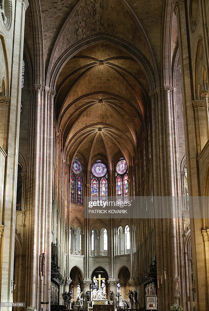 A view of the inside of the Notre-Dame de Paris cathedral, on November 29, 2012, in Paris. AFP PHOTO / PATRICK KOVARIK