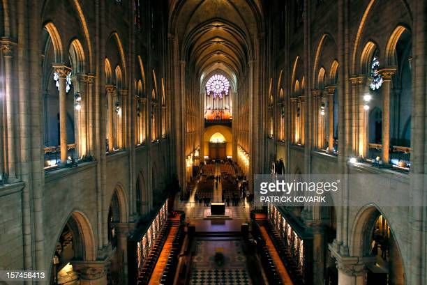 A view of the inside of the NotreDame de Paris cathedral on November 30 in Paris AFP PHOTO / PATRICK KOVARIK