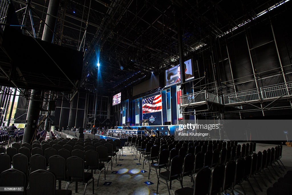 A view of the inside of the stage at the NFL Draft Town , prior to the start of the 2016 NFL Draft on April 28, 2016 in Chicago, Illinois.