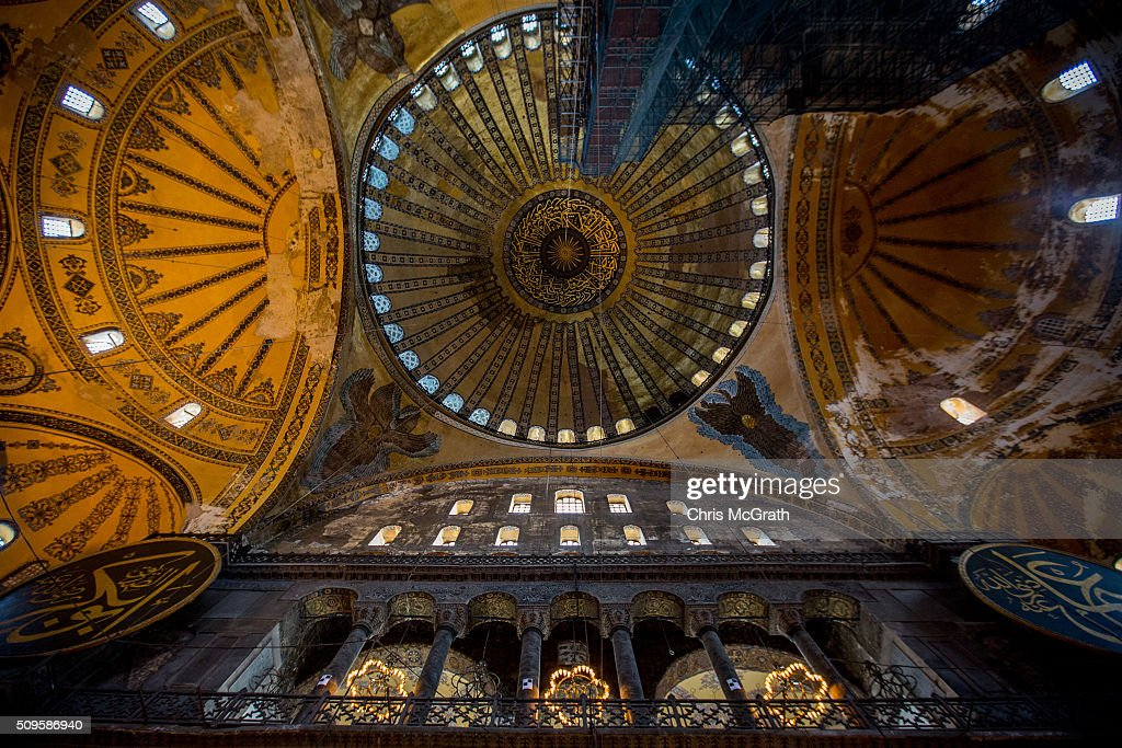 A view of the interior of the Hagia Sophia Museum on February 11, 2016 in Istanbul, Turkey. The Hagia Sophia (Ayasofya) Museum is one of the most visited tourist attractions in Turkey, with more than 3 million visitors per year. Constructed in 537 the museum originally served as an Orthodox Cathedral, later a Roman Catholic church and was converted into a mosque when Constantinople was conquered by the Ottoman Turks in 1453. In 1935 it was opened as a museum by the Republic of Turkey. The museum is currently undergoing restoration on various parts of the interior.