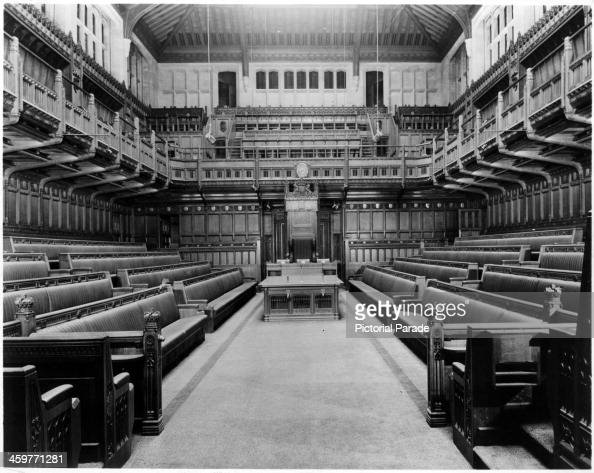 A view of the Interior of the House of Commons in London England Circa 1950