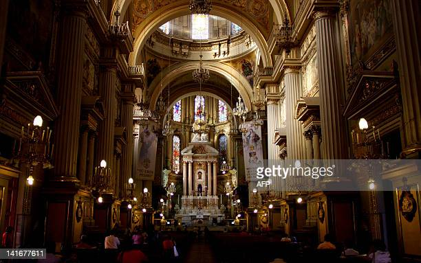 View of the interior of the metropolitan cathedral where Pope Benedict XVI is due to meet Latin American bishops during his upcoming visit on March...